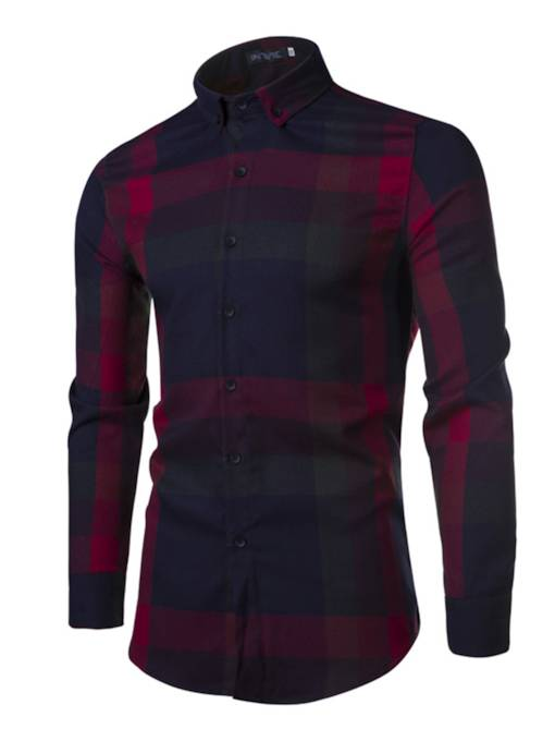 Lapel Plaid Casual Slim Fit Men's Shirt