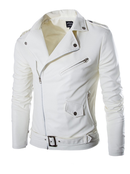 Lapel Inclined Zipper Motor Men's Faux Leather Jacket