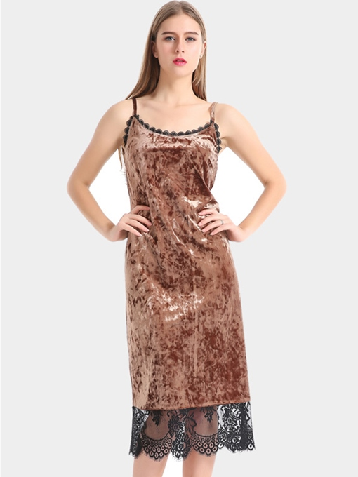 Velvet Coffee Strappy Women's Sexy Dress