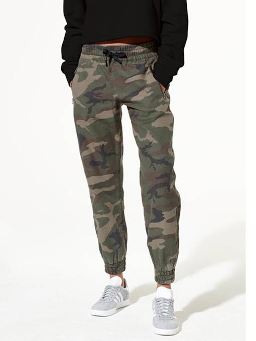 Camouflage Lace-Up Women's Casual Pants