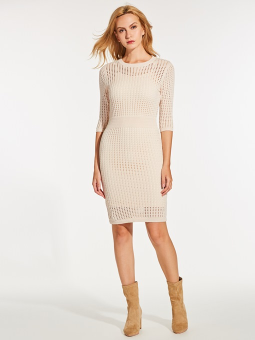 Khaki Half Sleeve Women's Sweater Dress