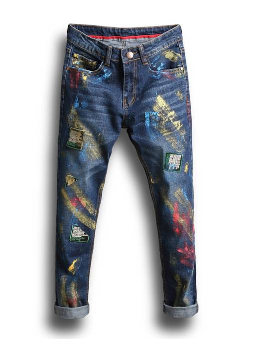 Color Printed Worn Straight Slim Fit Men's Casual Jeans