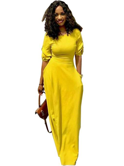 Yellow Half Sleeve Back Zipper Women's Maxi Dress