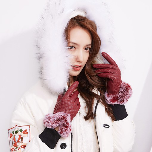 Cony Hair PU Touch Screen Windproof Gloves