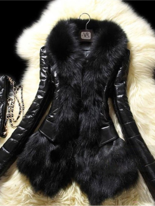 Straight Standard Women's Faux Fur PU Jacket