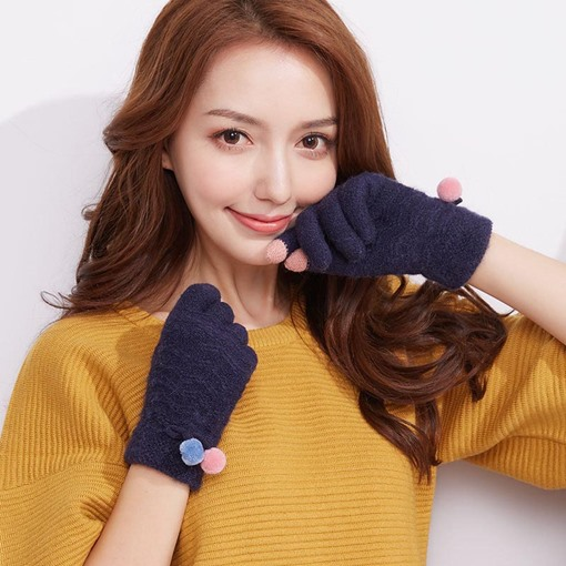 Soft Knitted Touch Screen Fuzzy Ball Gloves