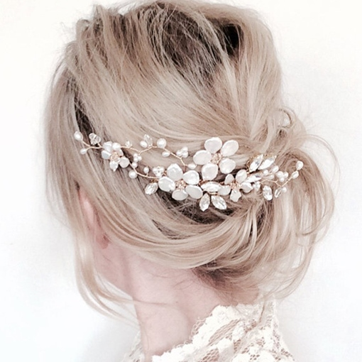 White Flower Copper Wire Bride Accessories