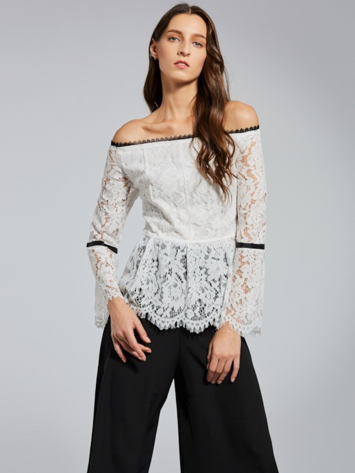 Lace Off-Shoulder Plain Women's Blouse