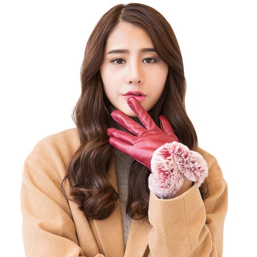 PU Touch Screen Imitation Cony Hair Gloves