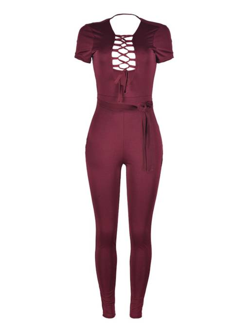 Sexy Skinny Lace-Up Hollow Women's Jumpsuits