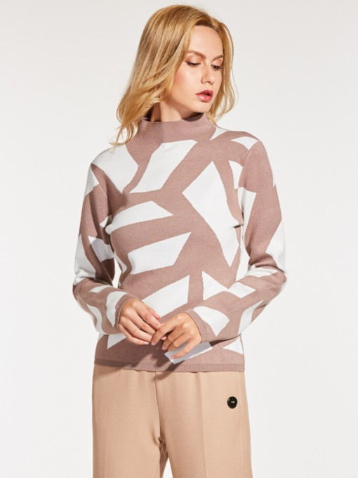 Geometric Color Block Slim Women's Sweater