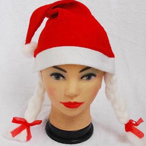 Christmas Pigtail Cloth Red Color Block Bowknot Hats