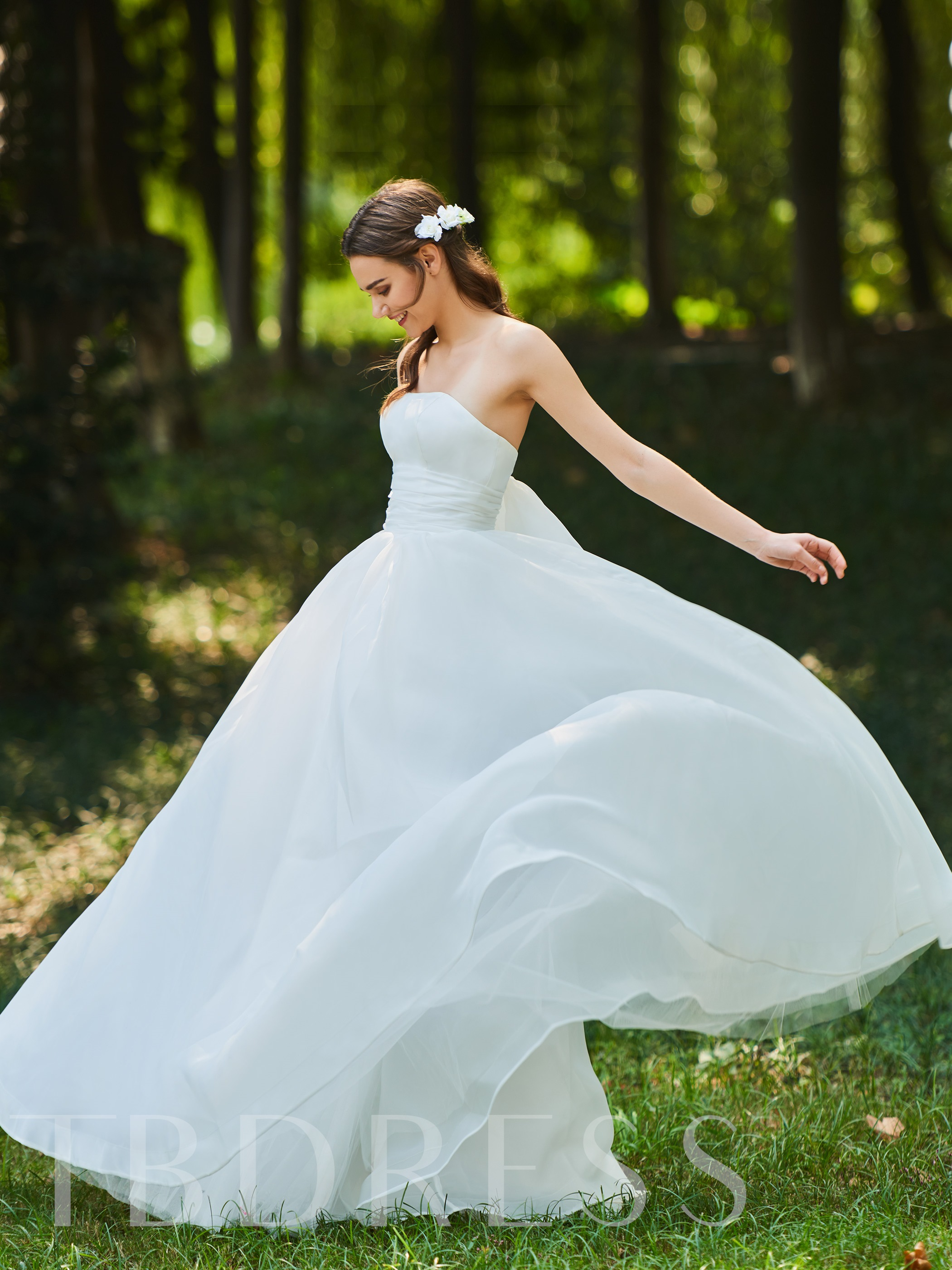 Image of A-Line Ruffles Strapless Wedding Dress