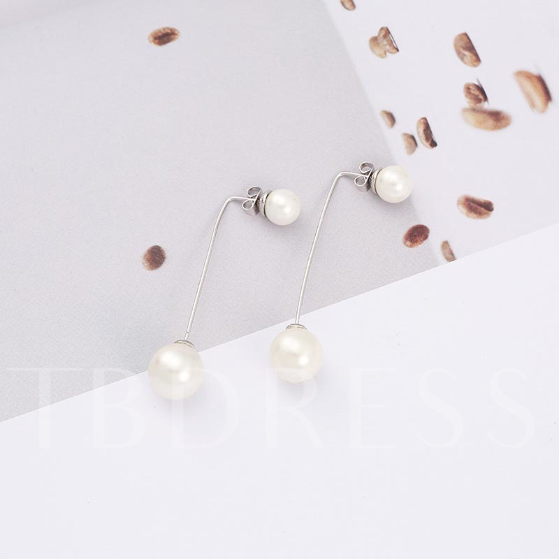 Pearl Silver Plated Alloy Simple Earrings