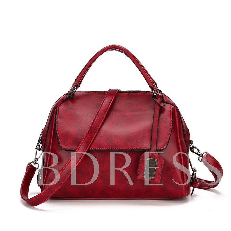 Vintage Solid Color Women PU Cross Body Bag