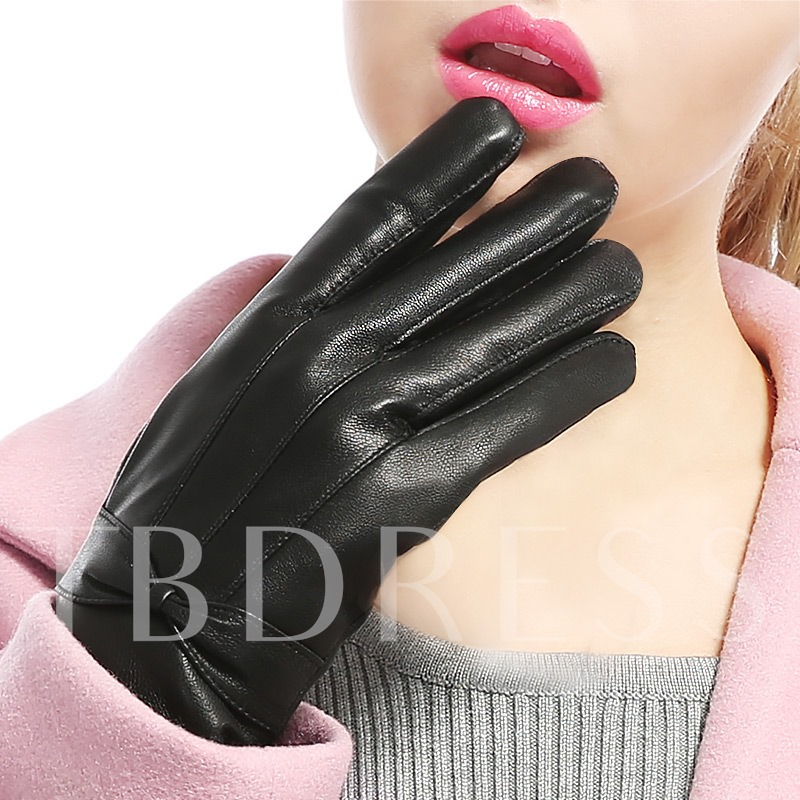 Brushed Keep Warm Artificial Leather Bowknot Gloves