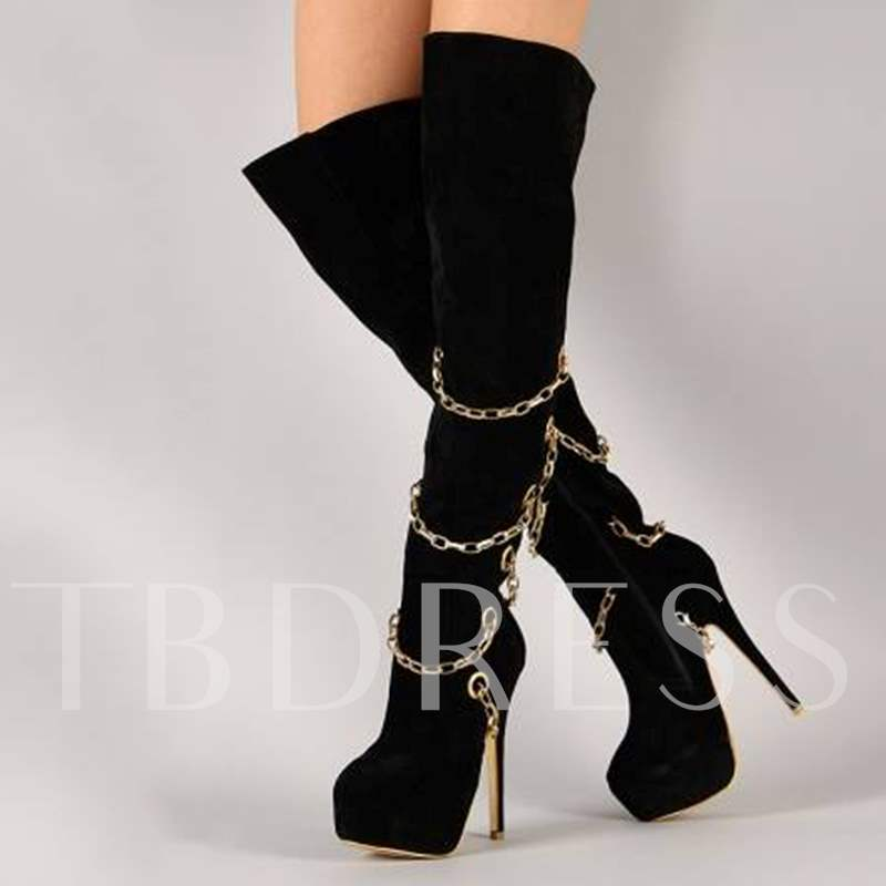 Buy Black Suede Chain Platform Boots for Women, Sheshoe, Fall,Winter, 13077485 for $92.99 in TBDress store