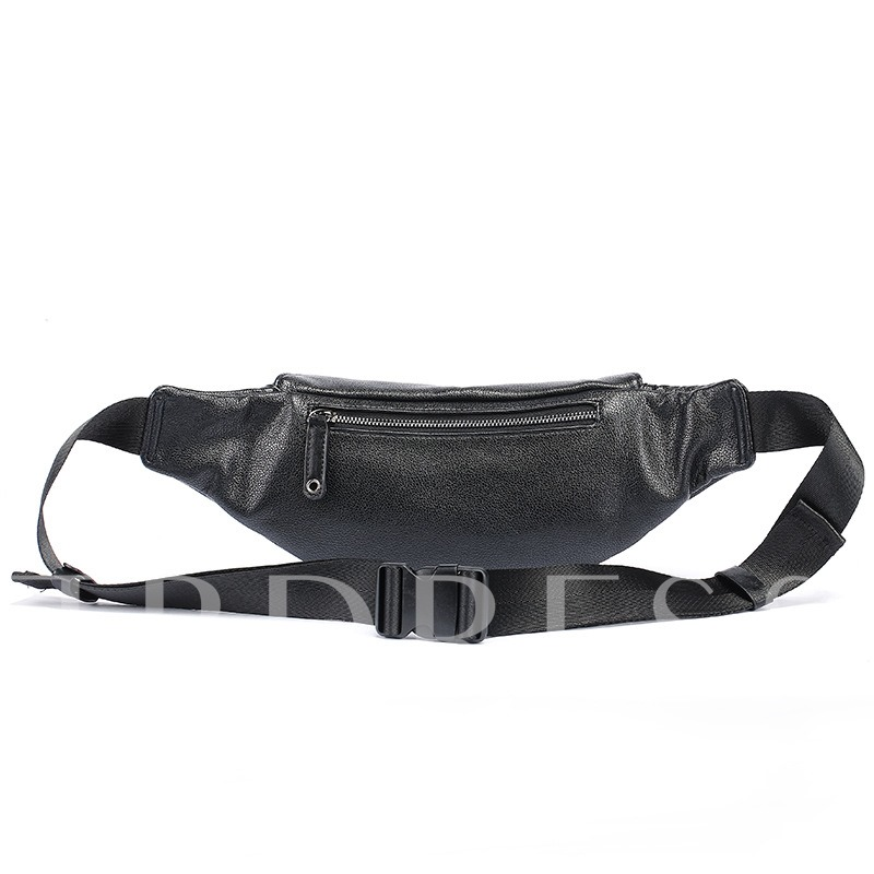 Korean Style PU Zipper Men's Waist Pack