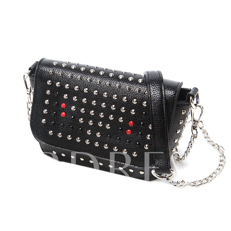 Punk Style Rivet Adornment Chain Cross Body Bag