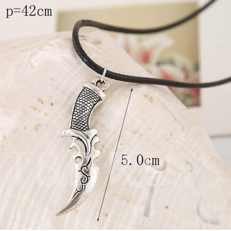 Knife Shaped Alloy Metal Artificial Leather Rope Men's Necklace