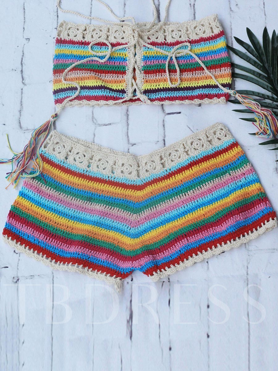 Hand-Knitting Stripe Single Bikini Top & Bottom