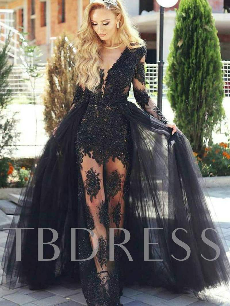 A-Line Appliques Lace Long Sleeves Floor-Length Evening Dress, Spring,Summer,Fall,Winter, 13078425