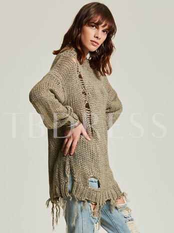 Loose Round Neck Tassel Holed Pullover Women's Sweater