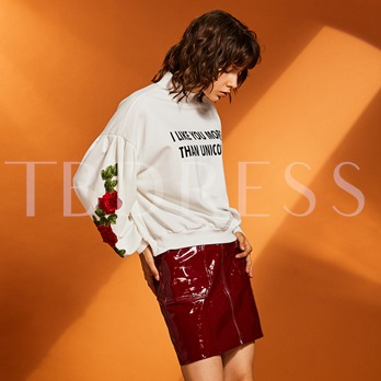 Turtleneck Floral Embroideried Letter Print Women's Hoodie