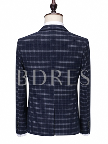 Notched Collar Double-Breasted Plaid Printed Slim Fit Men's Dress Suit