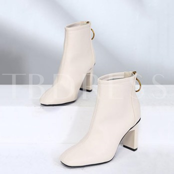 Solid Square Toe Chunky Heel Women's Zipper Ankle Boots