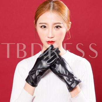 Solid Color Touch Screen PU Warmth Gloves