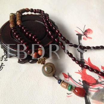 Door Frame Agate Wooden Beads Ethnic Men's Necklace