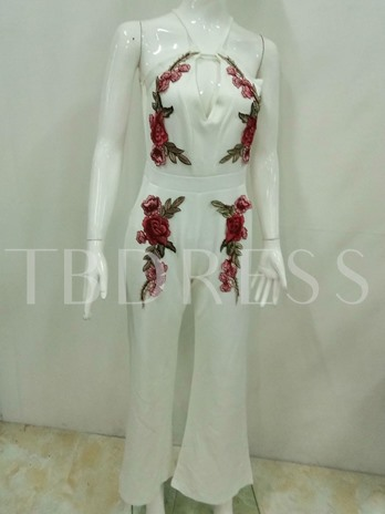 Hollow Floral Embroidery Women's Palazzo Jumpsuits