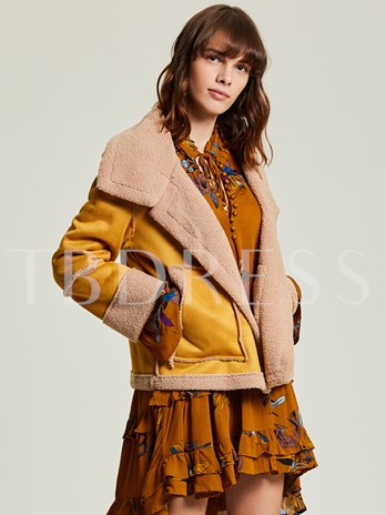 Color Block Wide-Lapel Wrapped Women's Coat
