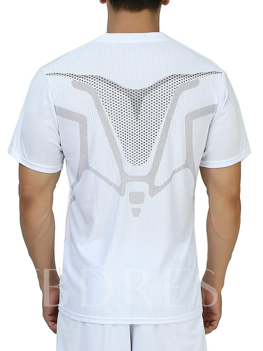 Men's Solid Color Round Collar Outdoor Short Sleeve T-shirt