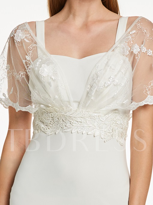 A-Line V-Neck Short Sleeves Appliques Lace Floor-Length Evening Dress