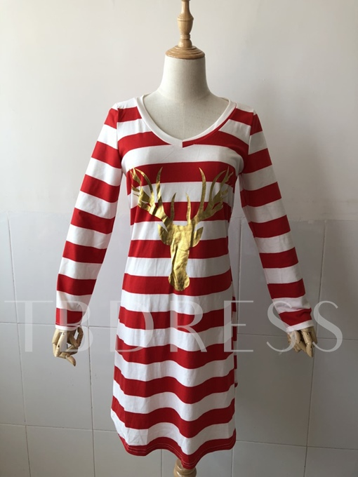 Reindeer Pattern Christmas Striped Women's Day Dress