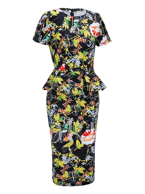 Double-Layered Printing Women's Bodycon Dress