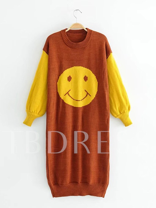 Round Neck Smiley Face Women's Sweater Dress