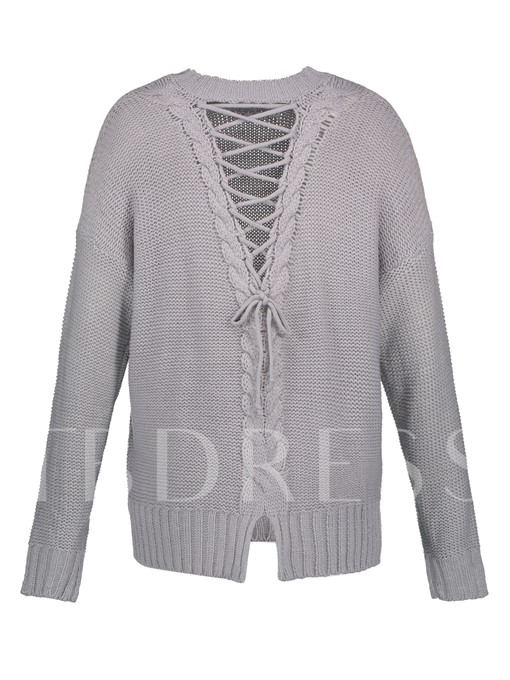 Round Neck Backless Lace-Up Vacation Women's Sweater