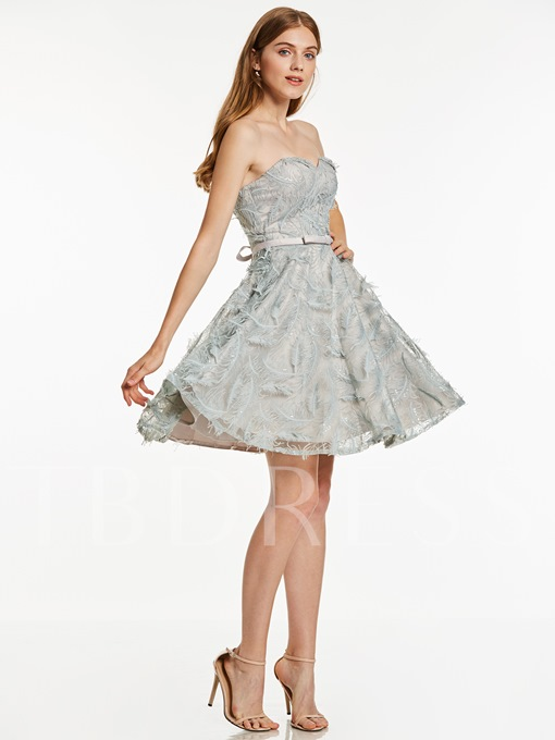 Sweetheart Lace-Up A Line Cocktail Dress