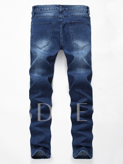 Zipper Hole Elastic Slim Fit Men's Casual Jeans