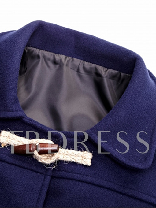 Lapel Horn Button Thicken Warm Slim Men's Woolen Coat