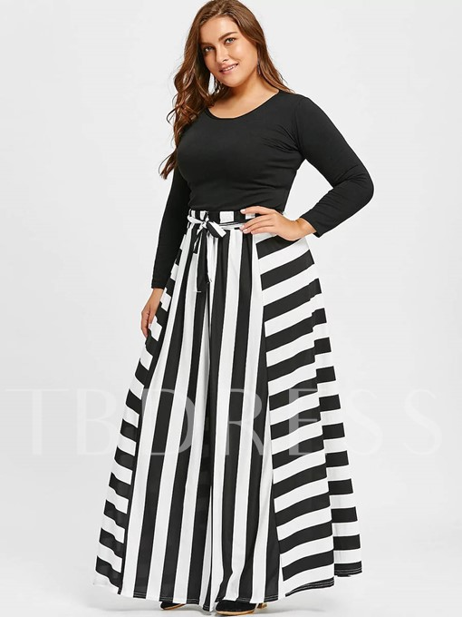 Stripe Color Block Ankle-Length Women's Skirt