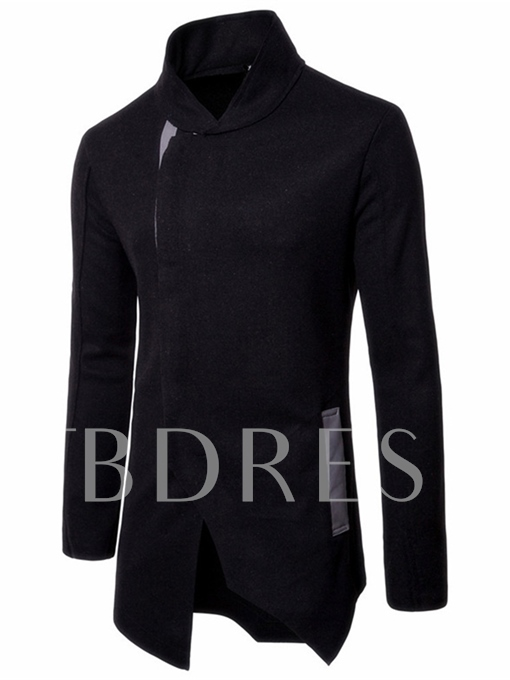 Stand Collar Inclined Zipper Irregular Men's Coat
