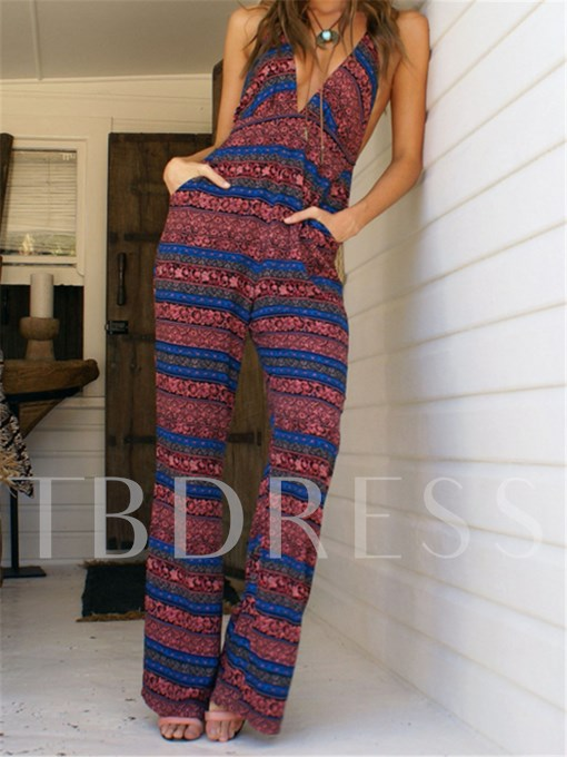 Color Block Floral Print Vacation Women's Jumpsuit