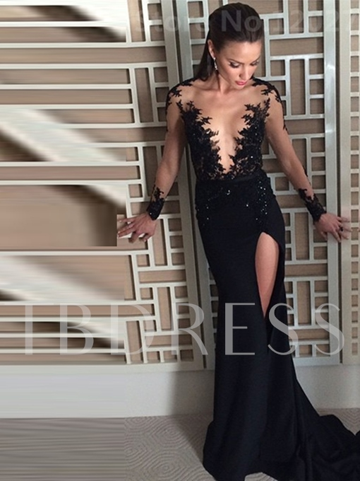 Appliques Beading Trumpet Long Sleeves Court Train Evening Dress