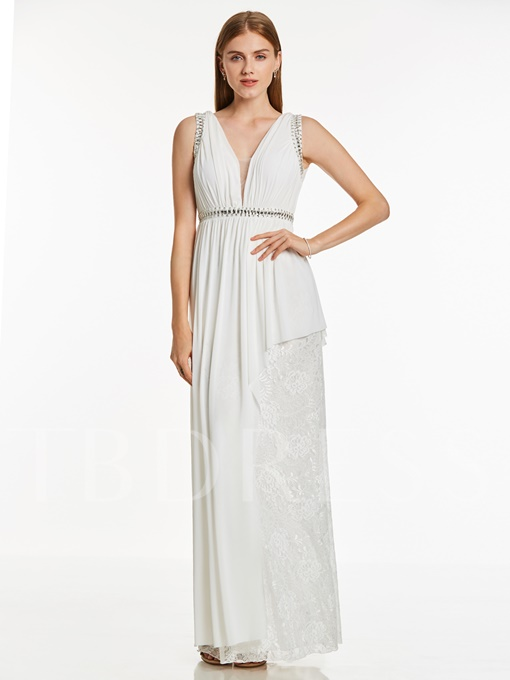 V Neck Backless Beaded Lace A Line Evening Dress