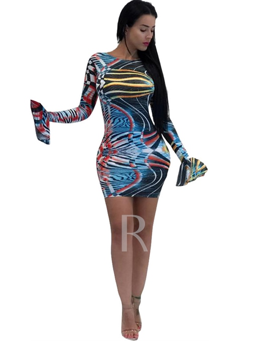 Color Block Bell Sleeve Women's Bodycon Dress