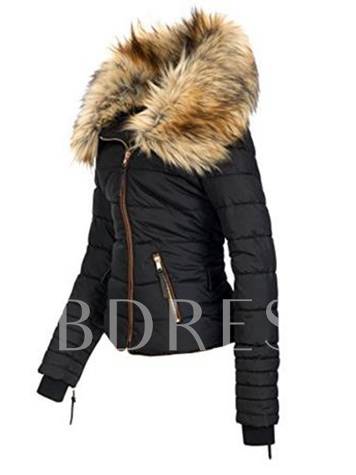 Faux Fur Collar Zipper Hooded Patchwork Women's Overcoat